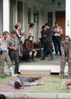 Aaron, Rosita Espinosa, Enid, Carol Peletier, Tara Chambler, Abraham Ford, and Heath after killing all of the walkers in Alexandria □ Season 6 Episode 9 ● No Way Out | The Walking Dead