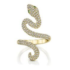 NARROW SNAKE RING ($6,725) ❤ liked on Polyvore featuring jewelry, rings, coiled snake ring, green ring, 18k jewelry, green jewelry and 18k ring