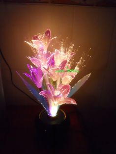 Orchid Flower Color Changing Fiber Optic Lamp Potted Home Decor 42cm Tall