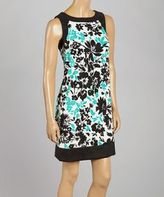 Look what I found on #zulily! Aqua & Black Floral Sleeveless Dress by Jessica Howard #zulilyfinds
