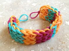 Items similar to Southwest Stripe Rubber Band Bracelet on Etsy Rubber Band Bracelet, Diy Crafts Jewelry, Loom Bracelets, Rainbow Loom, Fun Crafts, Jewelery, Unique Jewelry, Handmade Gifts, Color