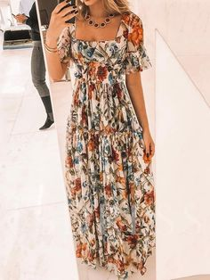 Sexy Short Sleeves Floral Print Off Shoulder Maxi Dress Brand Wakasia SKU Gender Women Style Elegant/Sexy/Fashion Type Maxi Dress Occasion Party/Vacation/Daily Life Material Polyester fiber Sleeve Short Sleeves Product No. Floral Print Maxi Dress, Boho Dress, Dress Skirt, Dress Casual, Types Of Fashion Styles, Dress Brands, Designer Dresses, Ideias Fashion, Fashion Dresses