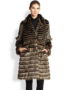 Donna Salyers Horizontal Faux Fur Coat