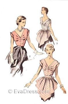 """super cute 1950s Eva Dress blouse & apron sewing pattern (30 to 38"""" bust sizes)"""