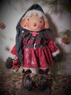 Primitive Folk Art Standing Christmas Elf Girl Doll~Vintage Rocking Horse Ornie #NaivePrimitive #DustpanDolliesbyPaula