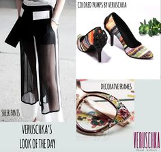 #lookoftheday #sheer pants #decorativeglasses and #veruschkashoes add a pop to your wardrobe with a printed #pump #stylish i am #digging this look http://www.veruschka.in/VERUSCHKA/PALOMINA-id-1155842.html