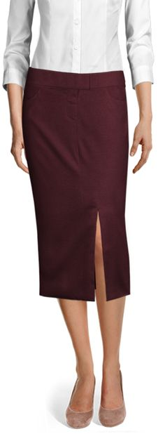 Customized by you, and made to fit your unique measurements Velvet Skirt, Casual Skirts, Wool Skirts, Suits For Women, Business Skirts, Work Wear, Mulberry Wine, Shirt Dress, Dark Red