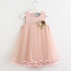 8360286b257 Toddler Girl Sleeveless Layered Chiffon Dress with Flower Accents