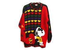Snoopy Sweater, 80s Party Outfits, Joe Cool, Heart Patterns, Primary Colors, Sweaters, Collection, Vintage, Sweater