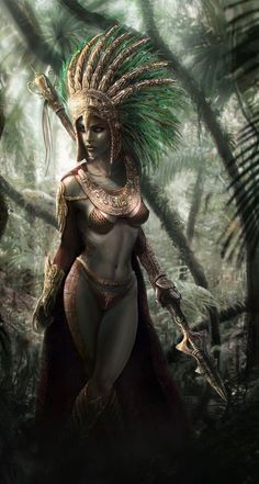 Gotta love the south american tribes influence on this, rarely seen on fantasy female art. 3d Fantasy, Fantasy Warrior, Fantasy Women, Fantasy Girl, Fantasy Artwork, Anime Fantasy, Dark Fantasy, Warrior Princess, Warrior Girl