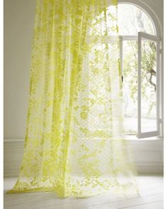 Made to Measure Voile Curtains :: Voile Curtain WONDERLAND - christian fischbacher yellow curtains
