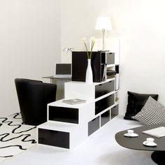 Espace loggia lit mezzanine separation piece brick NB meuble contemporain design gain de place