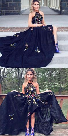 elegant halter black floral prom party dresses, chic hi-low formal evening gowns for special occasion.