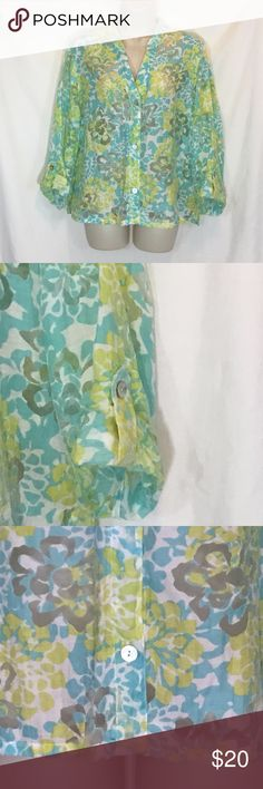 """Ruby Rd Women Sz 12 Transparent sheer button shirt Ruby Rd Womens Sz 12 Transparent sheer button shirt blouse floral top blue yellow Long Sleeve Rollup Sleeve Chest:  21"""" laying flat armpit to armpit  24"""" length collar to hem Ruby Rd. Tops Button Down Shirts"""