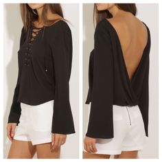 Black V-neck tie up backless blouse small Brand-new and never worn super cute, V's in back and front Tops Blouses