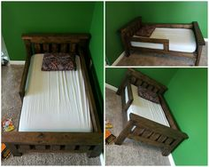 Rustic Farmhouse Toddler bed built from Ana White plans. Added guard rails + adjusted length and height to fit toddler mattress & to make it easier for toddler to get in and out of bed.
