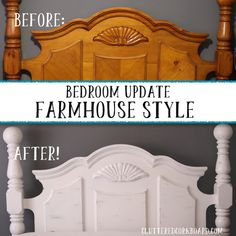 Painted Wood Headboard, Build A Headboard, Headboard Makeover, Waterbed Frame, Farmhouse Style Bedding, Master Bedroom, Bedroom Decor, Water Bed, Furniture Update