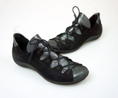 Arche Black Suede Leather Sneakers. Black suede. Lace tie up closure. Metallic leather front. Rubber sole. We are always willing to try to accommodate reasonable requests when given the opportunity. High Fashion at Low Prices. | eBay!