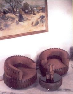 Repurposing tires into upholstered chairs
