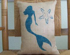 Embroidered Mermaid Pillow Beach Decor by ByTheSeashoreDecor