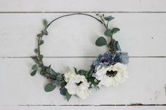 Flower crowns for the bridesmaids, Stevi Marie on Etsy makes such beautiful ones! #wedding #mybigday  Cool Toned Anemone Floral Crown by missstevimarie on Etsy
