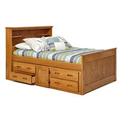 Available in a honey or chocolate finish, this full-sized Bookcase Captain's Bed is both functional and stylish with its natural finish and room for storage. This durable bed has book shelves on the headboard for your books.