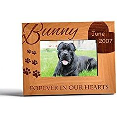 Personalized Dog Memorial Alder Wood Photo Frame Forever in Our Hearts Custom 4x6 Horizontal