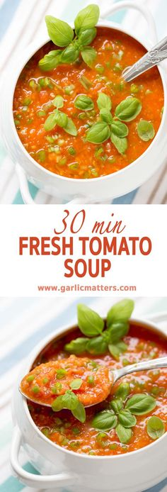 30 min Fresh Tomato Soup is a delicious, vegan, summer recipe celebrating the freshness and beautiful flavour of delicate, fresh tomatoes.