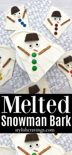 This melted snowman bark recipe is the perfect Winter and Christmas treat to make with your kids! Christmas Treats To Make, Holiday Treats, All Things Christmas, Christmas Cookies, Holiday Fun, Merry Christmas, Christmas Snacks, Holiday Movie, Holiday Foods