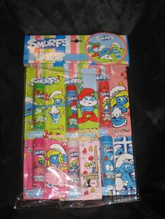 ριηтεяεsт: QWE3NB / βrιттany The Smurfs Smurfette Flavored Lip Balm Party Pack Lotta Luv NEW