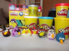 How to make angry birds with play-doh