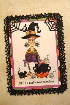 Art Impression Santas Helper - Eunice (Sku#P1790) Handmade Halloween card. Spider web border corners...cauldron, black cat.