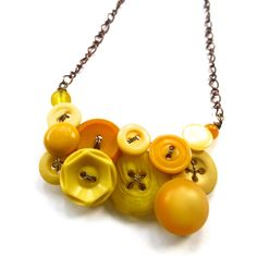 Honey Gold and Mustard Yellow Vintage Button Statement Necklace (30.00 USD) by buttonsoupjewelry