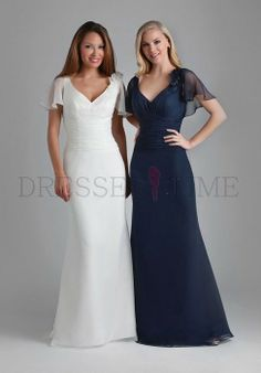 Buy Elegant V-neck Empire Waist Flowers Floor-Length Chiffon Bridesmaid Dresses BD-30018 Wedding Party Dresses under $109.99 only in DressesTime.