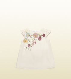 baby silk dress with floral embroidery Gucci