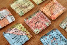 Make #DIY map magnets out of maps from the places you've traveled to. LOVE.
