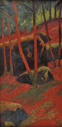 The Athenaeum - Le Bois rouge - Paul Serusier Paul Gauguin, Landscape Art, Landscape Paintings, Art Amour, Maurice Denis, Art Français, Photo D Art, European Paintings, Art Et Illustration