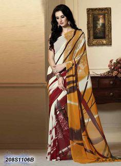 Luscious Multi Coloured Georgette Printed Saree