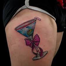 Glass Tattoos, Designs And Ideas : Page 3 Bff Tattoos, Sexy Tattoos, Wine Tattoo, Skin Art, Picture Tattoos, Tattoo Designs, Thigh, Glass, Bow