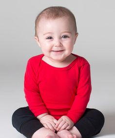 Love this Red Lap-Neck Long-Sleeve Tee - Infant by American Apparel on #zulily! #zulilyfinds