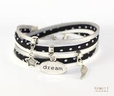 Bracelet tissu noir pois blancs suédine argenté aspect cuir et blanc - breloques dream aile étoile : Bracelet par nemeti