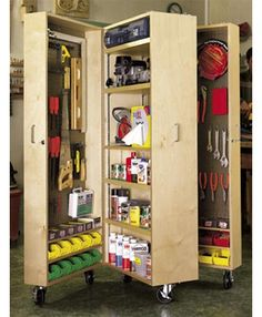 This cabinet has three compartments that open up to reveal shelves and hanging space for tools and accessories.    The added storage boxes allow you to pack away screws and hardware.    Close the compartments and you have a compact cabinet that can be moved anywhere.