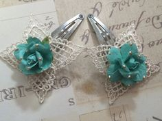 Turqoise Rose Barrette by BecksCuriousities on Etsy