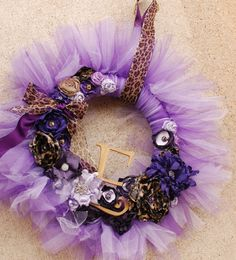 The Elizabeth Wreath Purple and Leopard by pickypickypeacock, $97.00