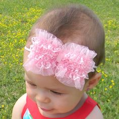 Pink Hair Bow Headband Newborn Headband Baby by AddysAtticOnEtsy