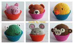 Mini crochet animal cupcakes