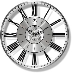 See the time and the inner workings of this contemporary wall clock.