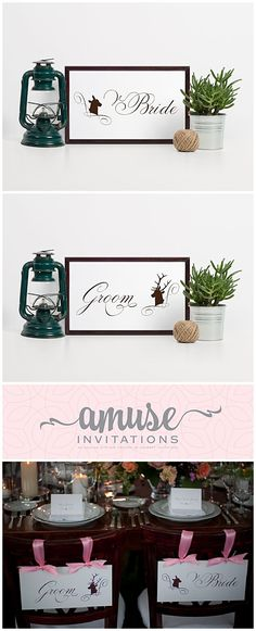 Our bride and groom chair signs have a buck on the groom sign and a doe on the bride sign. Wouldn't this be perfect for you woodland wedding? Or a forest themed wedding? Or even a hunting themed wedding!  They are available for instant download by clicking on the photo. Or PIN for later. Whimsical Wedding Invitations, Wedding Stationery, Barn Wedding Inspiration, Rustic Wedding, Woodland Wedding, Barn Wedding Decorations, Wedding Preparation, Invitation Design, Wedding Planning