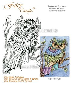 Hoot Owl Fairy Tangles Digi Stamp Zentangle Owl DIGI Stamps by Norma J Burnell