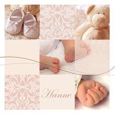 Een klassiek geboortekaartje voor een meisje. Op het kaartje zijn verschillende foto's te zien.
